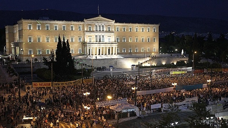 June 15: Demonstrators gather in front of the Parliament in Athens' main Syntagma square.