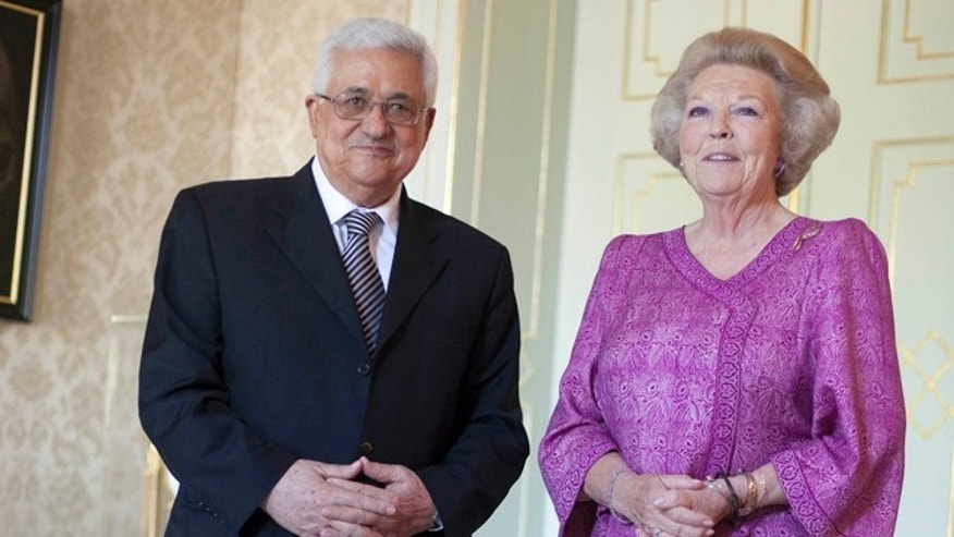 June 30: Netherlands' Queen Beatrix and Palestinian President Mahmoud Abbas are seen in Palace Huis ten Bosch in The Hague, Netherlands.