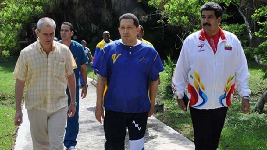 Hugo Chávez, center, recovering in Cuba after announcing that he is being treated for cancer. (Photo/Cubadebate, Estudios Revolución)