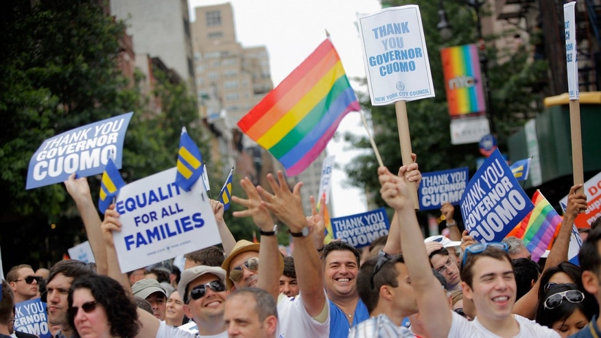 during the 2011 NYC LGBT Pride March on the streets of Manhattan on June 26, 2011 in New York City.