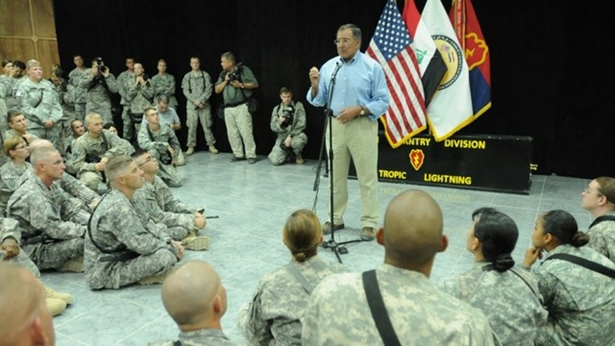 July 11: Secretary of Defense Leon E. Panetta talks with U.S. soldiers during his visit to Camp Victory, Baghdad, Iraq.