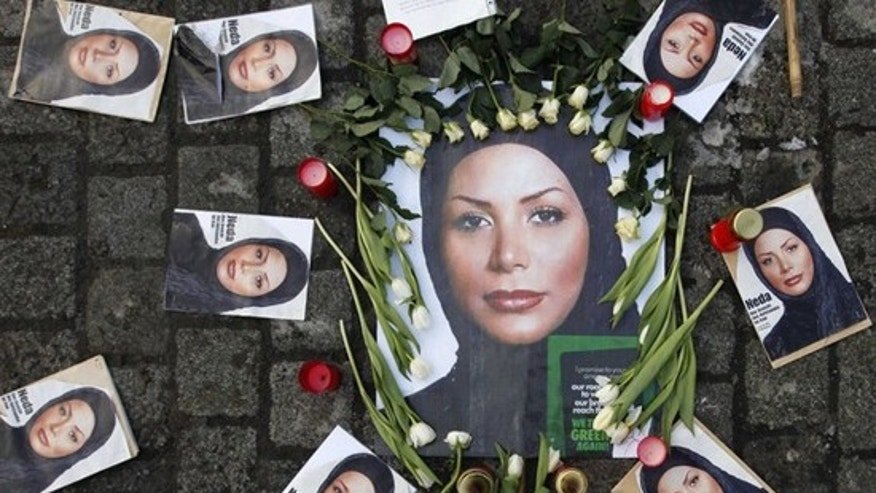 Pictures of the Iranian woman Neda Agha-Soltan, who was killed during a post election anti-government protest, are placed on Albertina Square during a demonstration in Vienna January 23, 2010. Agha-Soltan became a symbol for protests against Tehran's hardline leaders after graphic footage of her death was seen around the world on the Internet. (Reuters)