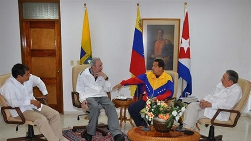 Jul 21: Photo released by Cuban government website Cubadebate. Pictured from left to right, Ecuador President Rafael Correa, Fidel Castro, Venezeulan President Hugo Chavez and Cuban President Raul Castro.