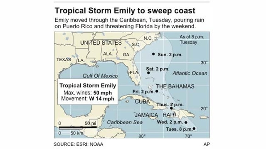 Graphic shows the current location and projected track of Tropical Storm Emily