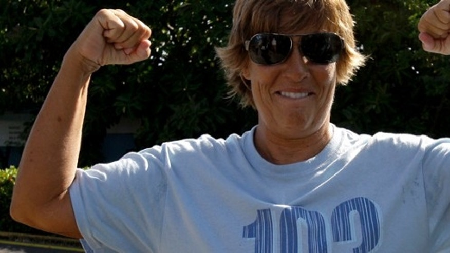 U.S. swimmer Diana Nyad, 61, gestures before a press conference in Havana, Cuba to announce her 103-mile crossing between Cuba and Key West in Florida Sunday, Aug. 7, 2011. Nyad will begin her journey Sunday night and expects to accomplish her goal in approximately 60 hours. (AP Photo/Franklin Reyes))