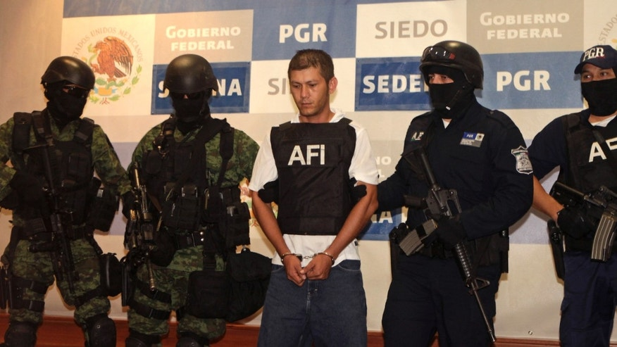 August 15: Federal police officers escort Ricardo Benitez Servin aka 'El Mudo', center, upon his presentation to the press in Mexico City. Benitez is the alleged lieutenant of the Beltran Leyva drug cartel for the area known as Costa Grande in Mexico's Guerrero state. Living up to his nickname, 'the mute', Benitez Servin said nothing.