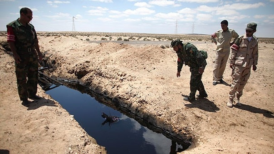 Aug. 15: A rebel fighter throws a stone into a pool of oil allegedly left by Muammar Qaddafi's troops near the town of Brega, Libya.