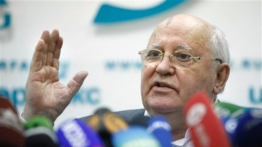Aug. 17: Former Soviet President Mikhail Gorbachev gestures during his news conference ahead of the 20th anniversary of Aug. 19, 1991, hardline coup that briefly ousted him and precipitated the collapse of the Soviet Union, in Moscow, Russia. Gorbachev criticized the government for taking Russia backward and said that the nation needs free elections and a fresh leadership.
