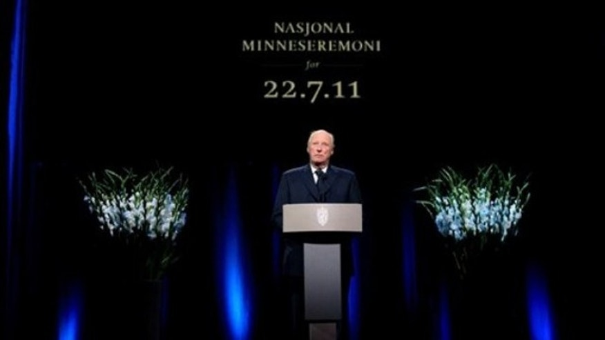 Aug. 21: Norway's King Harald speaks during the national memorial ceremony in Oslo in remembrance of the victims of the two July 22 attacks that killed 77 people in Oslo and on Utoya island.
