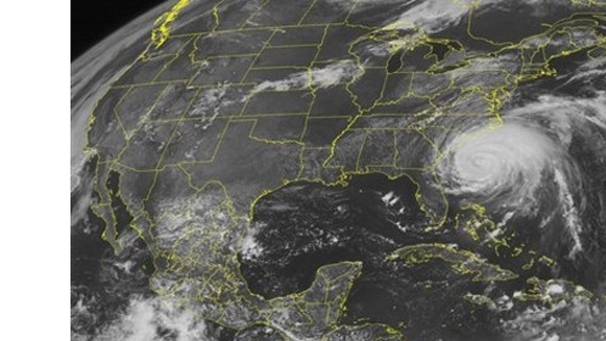 Aug 26: NOAA satellite image shows category 2 Hurricane Irene located about 300 miles south-southwest of Cape Hatteras, North Carolina.  The system has slightly weakened , but maximum sustained winds up to 100 mph.  The system continues moving northward at 14 mph.