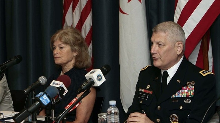 Sept. 8: Shari Villarosa, left, the head of the U.S. delegation and a member of the State Department's anti-terrorism team, and Gen. Carter Ham, the head of the U.S. African command, attend a conference on terrorism in the Sahara in Algiers, Algeria.