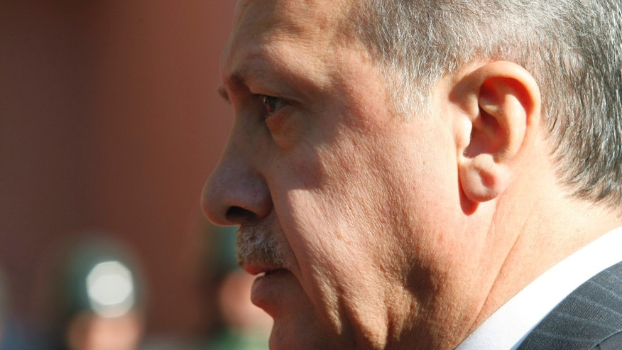 "September 8: Turkish  Prime Minister Recep Tayyip Erdogan walks before a ceremony outside his office in Ankara, Turkey. Erdogan said on the eve of a visit to Egypt that Israel's raid on a Gaza-bound aid flotilla last year was ""cause for war"" but that his country had shown ""patience"" and refrained from taking any action."