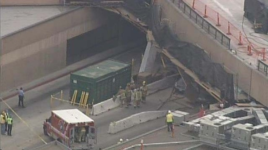 A roof collapse injured 17 and closed the border crossing at San Ysidro, California on Wednesday, September 14, 2011.