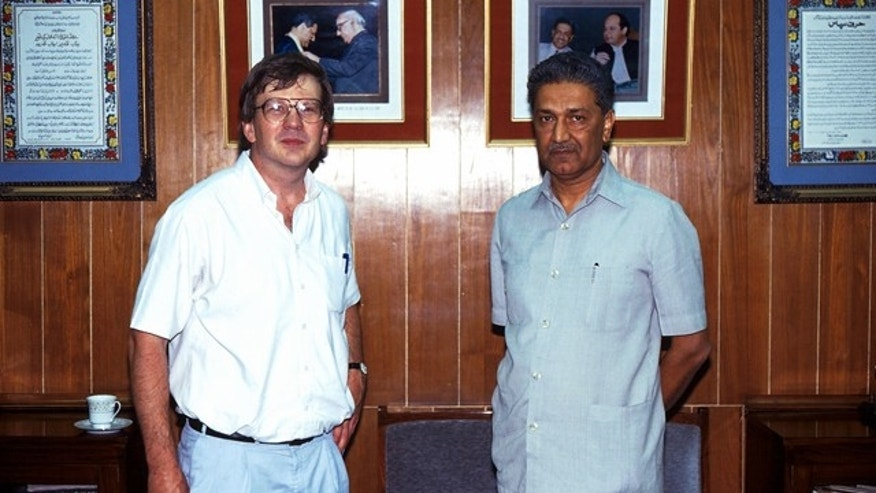 A.Q. Khan, right, poses for a photo with Simon Henderson, a senior fellow at the Washington Institute for Near East Policy. The photo was provided exclusively to Fox News.