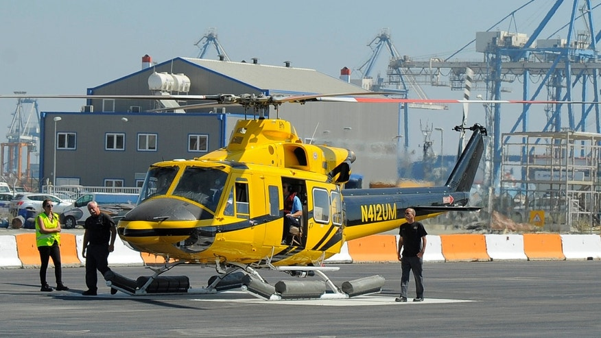 September 19: A helicopter ferrying workers to an offshore oil and gas rig belonging to Houston-based Noble Energy Inc. preparing to lift-off from Cyprus Limassol port. The Cyprus government has licensed Noble Energy to begin exploratory drilling.