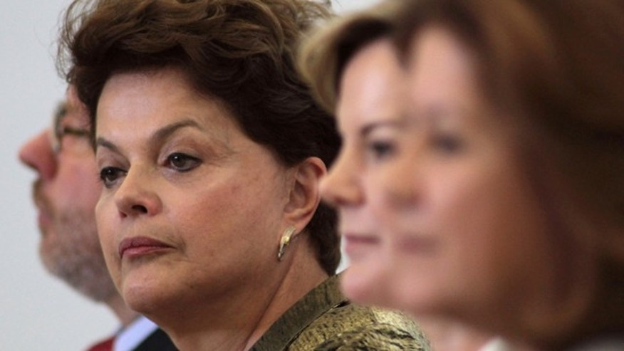 Brazil's President Dilma Rousseff attends a ceremony for the National Children's Nursery Program at Planalto Palace in Brasilia, Brazil, Thursday Sept. 15, 2011.  Brazil's tourism minister Pedro Novais has resigned amid allegations of misusing public funds. Novais is the fifth minister to resign since June. (AP Photo/Eraldo Peres)