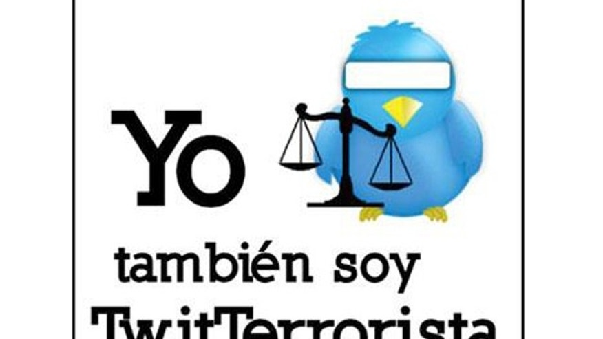 "María de Jesús Bravo Pagola changed her Facebook photo to a blindfolded Twitter bird behind the scales of justice which reads, ""I too am a TwitTerrorist."""