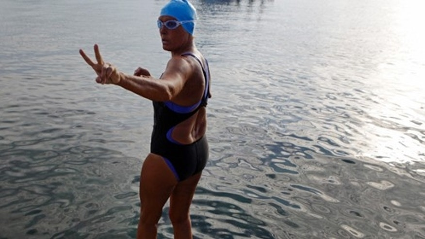 Sep. 23: Diana Nyad moments before starting her second attempt at completing the record breaking swim from Cuba to Florida.