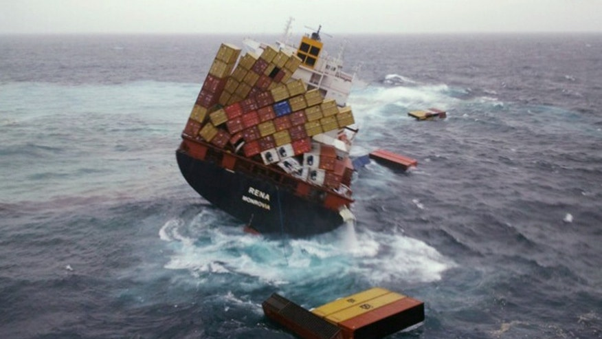 Oct. 12, 2011: Shipping containers float in the water around the cargo ship Rena that has been foundering since it ran aground Oct. 5 on the Astrolabe Reef, about 14 miles from Tauranga Harbour, New Zealand.