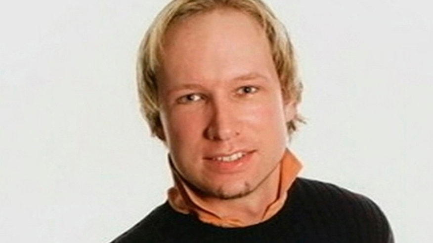 FILE- This photograph of Anders Behring Breivik, who confessed to killing at least 77 people, is broadcast by Norwegian television.
