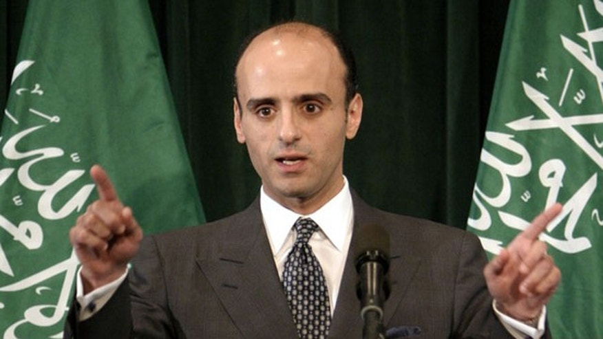 In this June 2004 file photo, then Saudi Arabian Foreign Policy Advisor Adel-Al-Jubeir gestures during a news conference in Washington. U.S. authorities broke up an alleged Iranian plot to bomb the Israeli and Saudi Arabian embassies in Washington and assassinate the Saudi ambassador to the United States.
