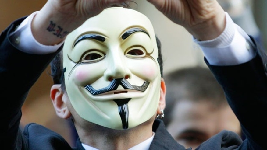 "Guy Fawkes mask seen in  ""V for Vendetta,"" a comic-based movie whose violent, anarchist antihero fashions himself as a modern Guy Fawkes, the Catholic insurrectionist executed four centuries ago for trying to blow up Parliament."