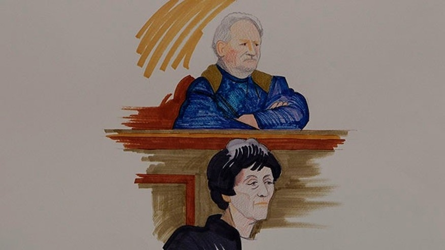 Nov. 7, 2011: In this courtroom sketch, by Christine Lemarie, Carlos the Jackal, 62-year-old Venezuelan whose real name is Ilich Ramirez Sanchez, top, and his wife and lawyer Isabelle Cortant-Peyre, are shown in Paris on the first day of a trial for four deadly attacks in France in 1982-1983. Carlos, already convicted in 1997 of a triple murder in Paris, and serving a life sentence, goes before a special court on terrorism-linked charges and a panel of anonymous magistrates will be his judges during the six-week trial.