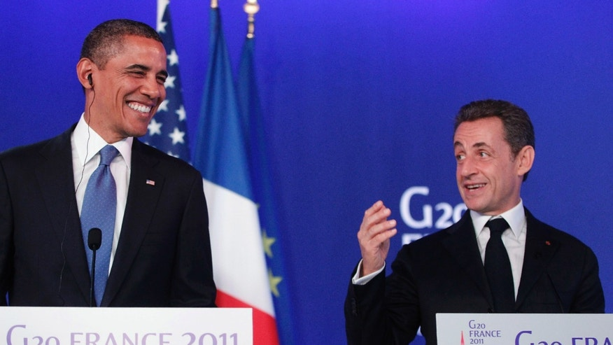 Presidents Barack Obama and Nicolas Sarkozy during a joint press conference at last weeks G20 summit in Cannes, France. Microphones picked up banter between the two leaders before the start of the conference in which they were heard making disparaging comments about Israeli Prime Minister Benjamin Netanyahu.