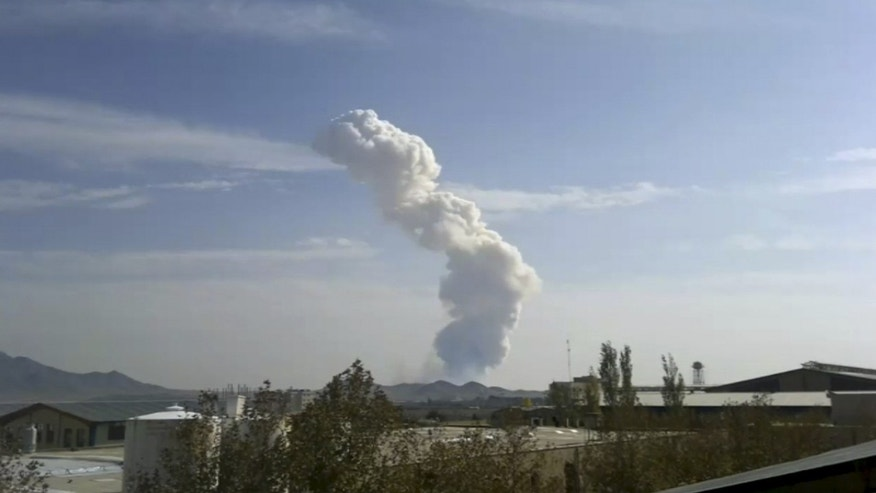 Nov. 12, 2011:  An explosion at a Revolutionary Guard ammunition depot outside Bidganeh village,west of Tehran.