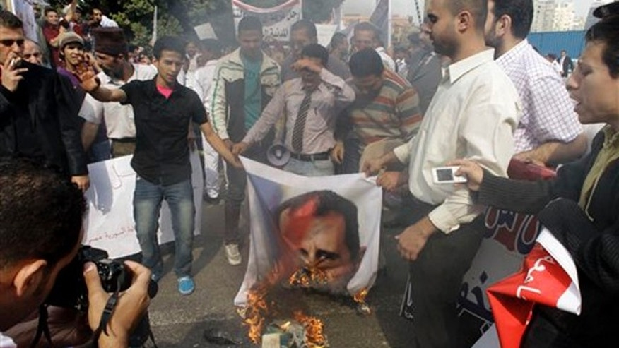 Syrian protesters burn a picture of Syrian President Bashar Assad during a protest in front of the Arab League headquarters in Cairo, Egypt, Saturday, Nov.12, 2011.