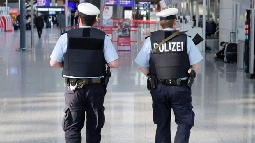 Feb. 3: Police patrol Germany's Frankfurt Airport a day after Wednesday's attack on a busload of U.S. airmen that killed two and wounded two others. Security experts told FoxNews.com that the attack -- and another in Moscow in January -- show glaring security gaps at airport terminals in the U.S. and around the world. (AP)