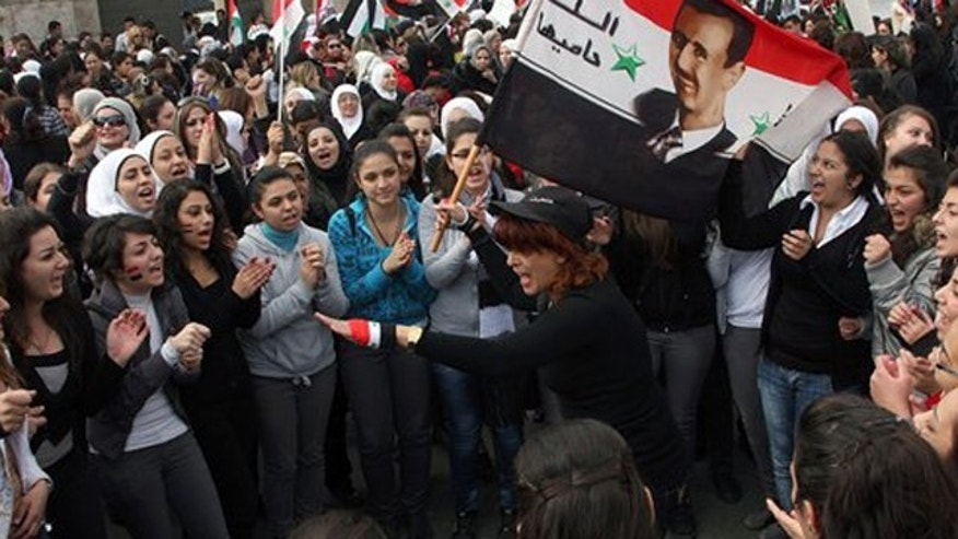 November 24, 2011: Pro-Syrian regime protesters shout pro-Syrian President Bashar Assad slogans during a protest against the Arab League meeting, in Damascus, Syria.
