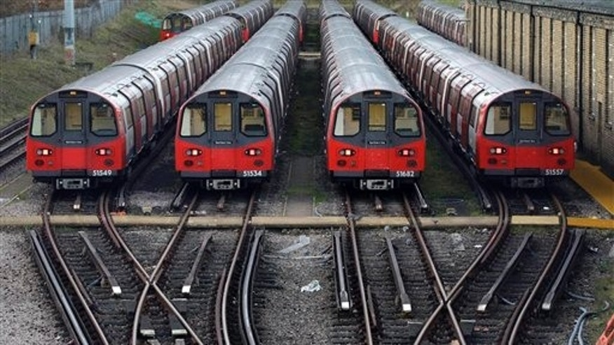 Dec. 26: Underground trains are parked during a 24-hour strike by train drivers over public holiday pay, at Mordern depot, south London.