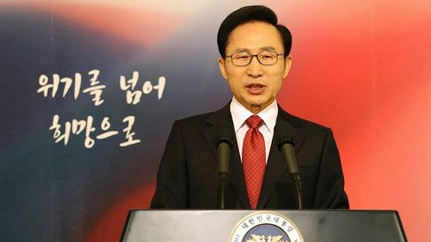 January 2, 2012: South Korean President Lee Myung-bak delivers a speech to the nation during his New Year's speech at the presidential Blue House in Seoul, South Korea.