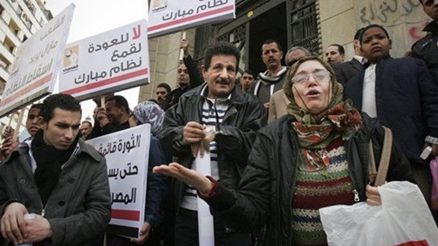 January 2, 2012: Supporters of the Egyptian Social Democratic party attend a demonstration calling for human rights in Cairo Egypt.