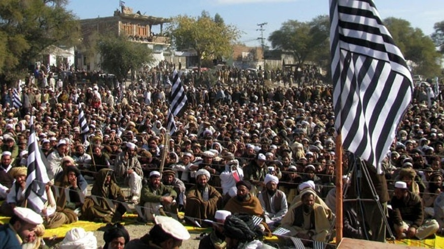 Jan. 12, 2012: Pakistani tribal people gather to condemn drone strikes on hideouts of alleged militants along the Afghanistan border in Pakistani region.