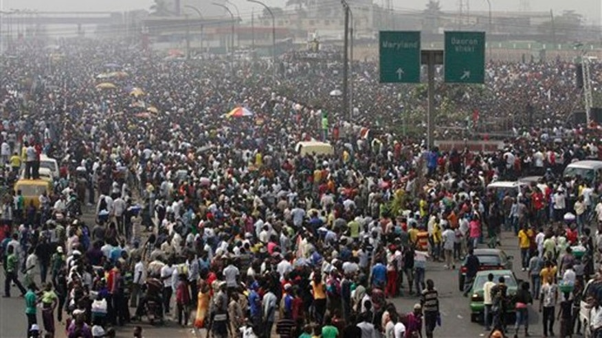 Jan 13, 2012: General view of the protesters on day five of the nationwide strike following the removal of a fuel subsidy by the government in Lagos, Nigeria.