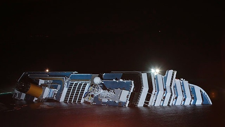 Jan. 16, 2012: The cruise ship Costa Concordia leans on its side after running aground near the tiny Tuscan island of Giglio, Italy, last Friday.
