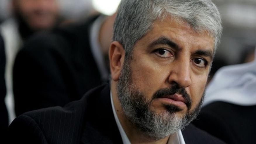 Khaled Mashaal, Hamas leader, center, attends his father's funeral at a Mosque in Amman, Jordan, in this Aug. 29, 2009 file photo.