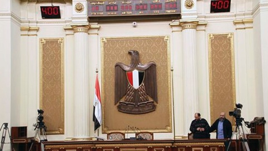 January 22, 2012: Officials are seen in the People's Assembly in Cairo, Egypt.