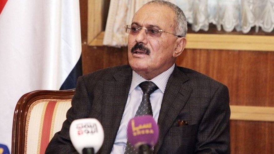 Jan. 22: President Ali Abdullah Saleh speaks to the state media reporters at the Presidential Palace in Sanaa, Yemen.