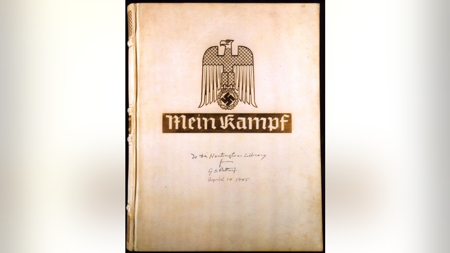 "File Photo of Adolf Hitler's ""Mein Kampf"" with the inscription, ""To the Huntington Library from G.S. Patton April 14, 1945."""
