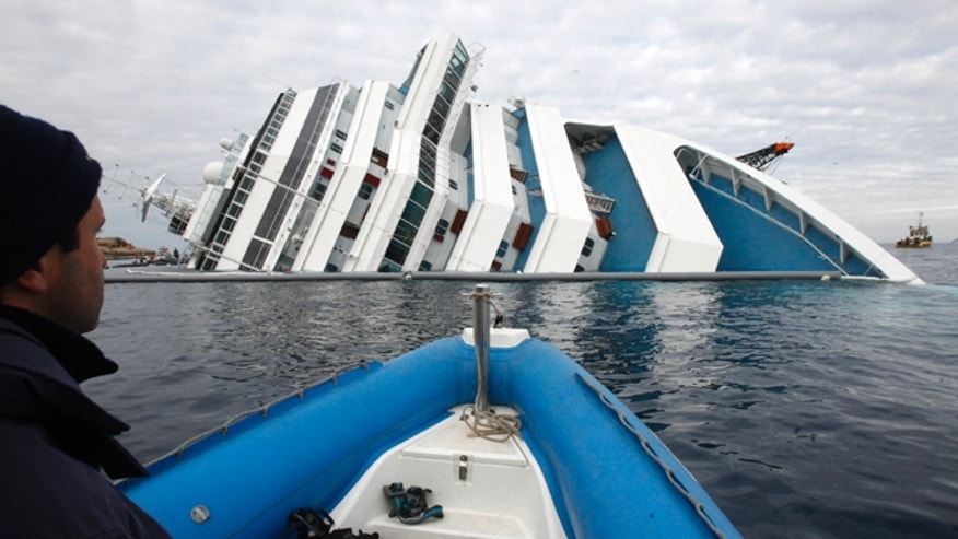 Jan. 27: Italian firefighters approach the grounded cruise ship Costa Concordia off the Tuscan island of Giglio, Italy.