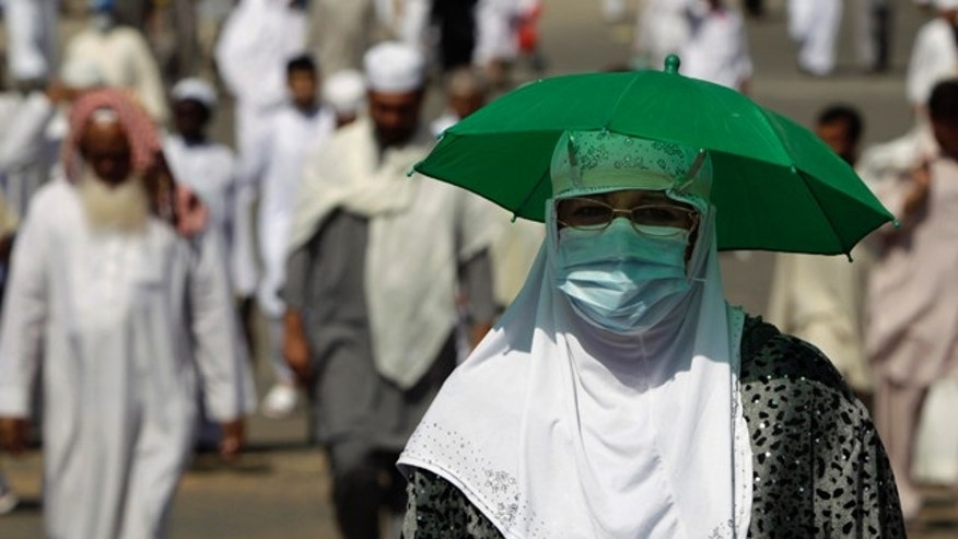 Muslim pilgrims make their way to perform prayers at the Grand Mosque upon their arrival in Mecca.