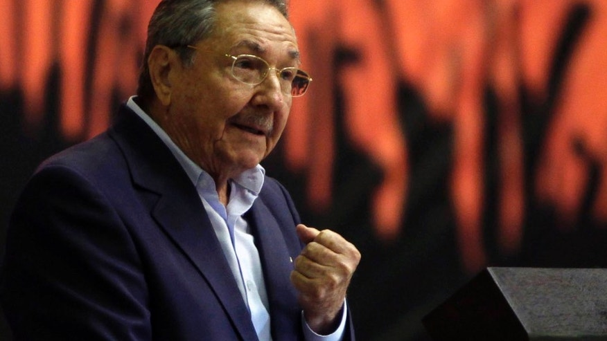 "Cuba's President Raul Castro speaks during the closing ceremony of the Communist Party Conference in Havana, Cuba, Saturday, Jan. 29, 2012. Cuba's Communist leaders vowed not to cede any ground to ""the enemy,"" even as they pledged to fight corruption and continue overhauling the island's listing Marxist economy with an injection of free market reform.(AP Photo/Ismael Francisco, Prensa Latina)"