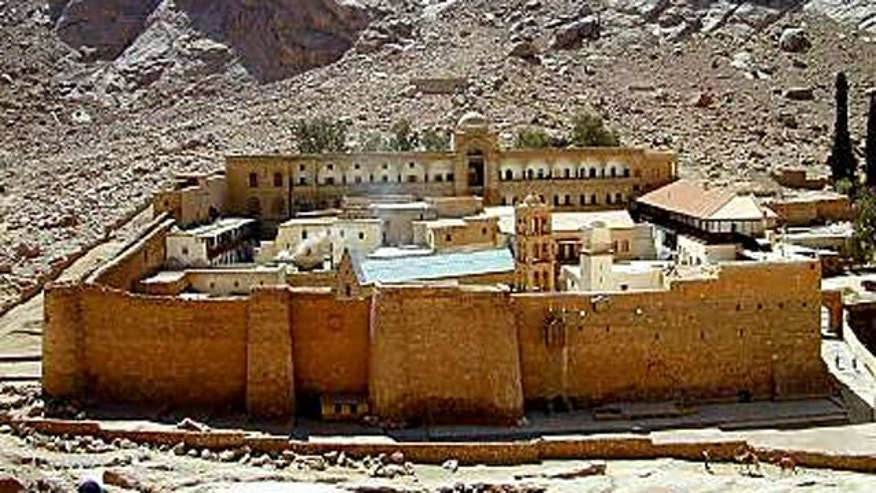 FILE: Saint Catherine's Monastery, founded by the Emperor St. Justinian the Great in 527, at the foot of Mount Sinai in Saint Catherine, Sinai, Egypt.