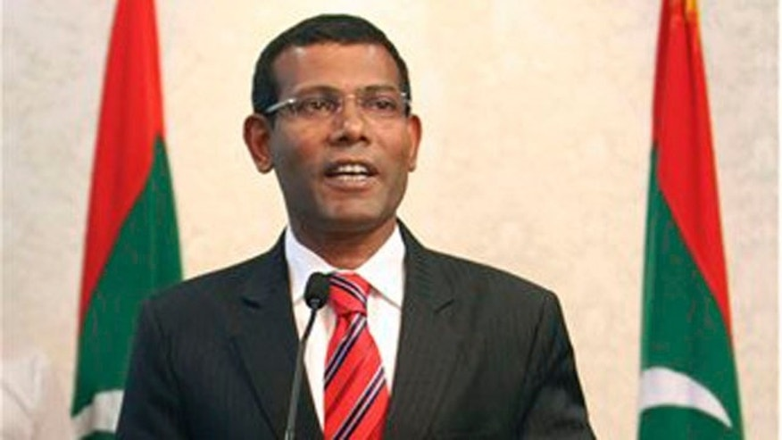 Feb. 7, 2012: Maldives President Mohamed Nasheed announces his resignation in Male, Maldives.