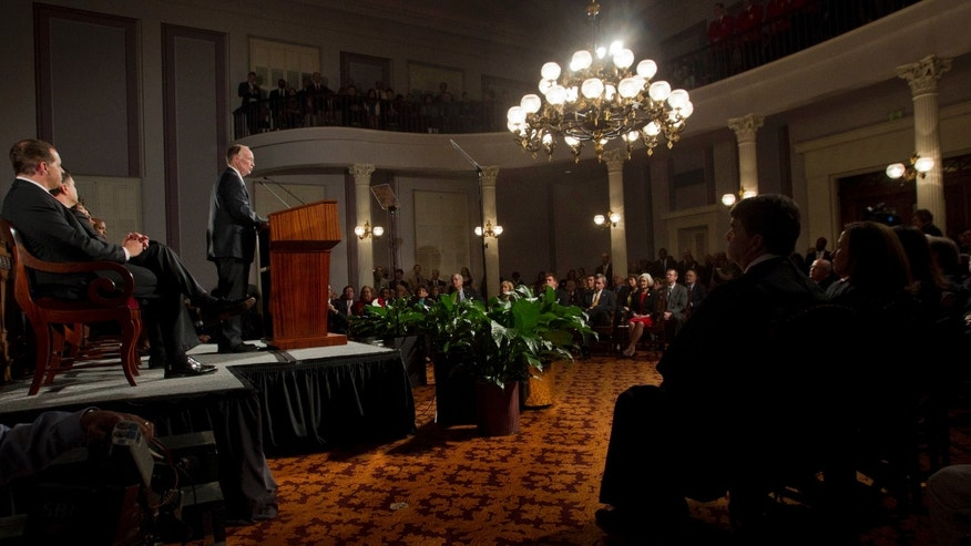 Alabama Gov. Robert Bentley delivers his State of the State address to a combined session of the Alabama Legislature at the historic Capitol in Montgomery, Alabama on Feb. 7, 2012. (AP Photo/Dave Martin)