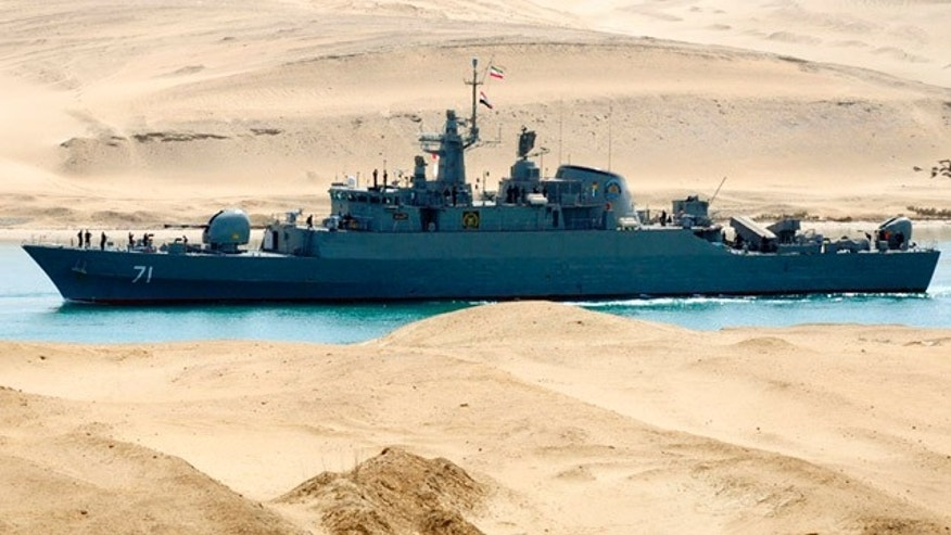 Feb. 22, 2011: An Iranian naval ship travels through the Suez Canal near Ismailia, north of Cairo.