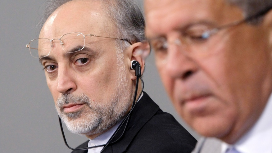 August 17: Iranian Foreign Minister Ali Akbar Salehi, left, looks on Russian Foreign Minister, Sergey Lavrov, during a news conference after their meeting in Moscow, Russia.